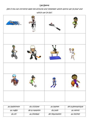 je joue je fais sport worksheet by sarah2209 teaching resources. Black Bedroom Furniture Sets. Home Design Ideas