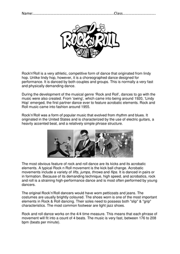 Rock and Roll Worksheet