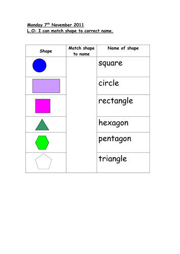 Match 2d Shape To Name By Auregbula Teaching Resources Tes
