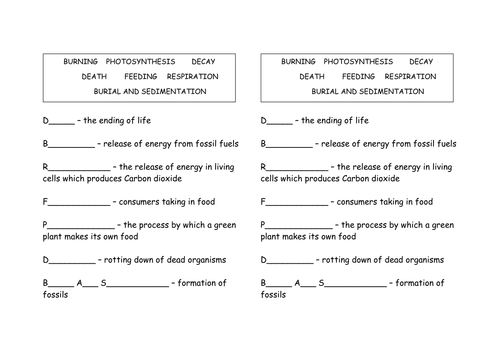 Carbon Cycle by funforester Teaching Resources TES – Carbon Cycle Worksheet