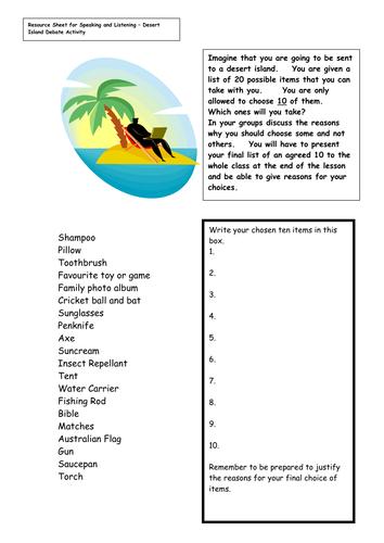 Lost On A Desert Island Worksheet