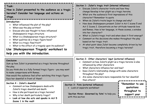 Romeo Juliet Printable Essay Plan Worksheet by maz1 Teaching – Romeo and Juliet Worksheet