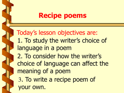 Full lesson Powerpoint on Recipe Poetry