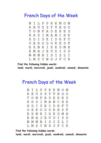 french days of the week wordsearch by lynreb teaching resources. Black Bedroom Furniture Sets. Home Design Ideas