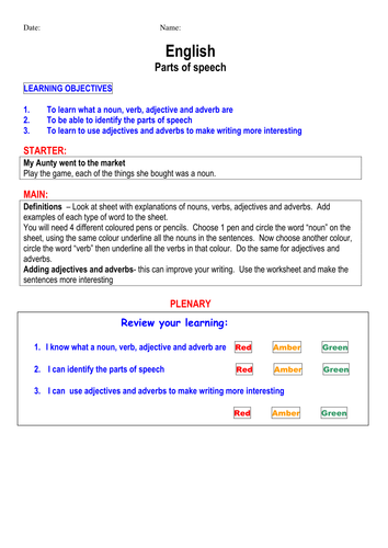 Parts Of Speech Teaching Resources