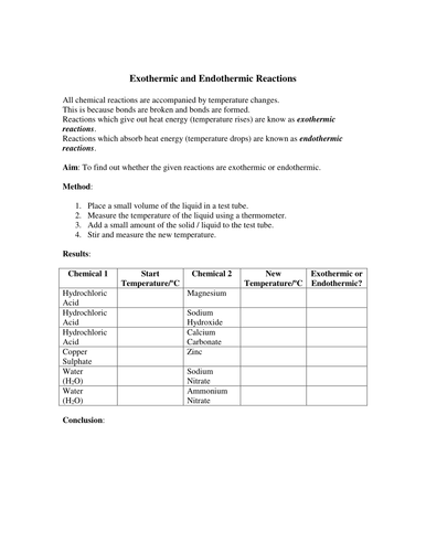 Worksheets Endothermic And Exothermic Worksheet exothermic and endothermic reactions experiment by missmunchie teaching resources tes