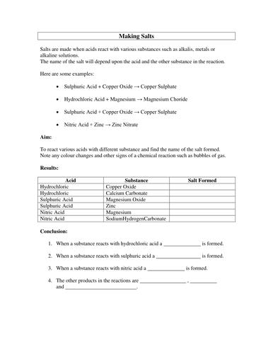 Making Salts Experiment Worksheet   Teaching Resources