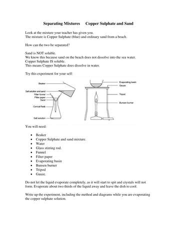 Separating Mixtures Experiment Worksheet By Missmunchie Teaching