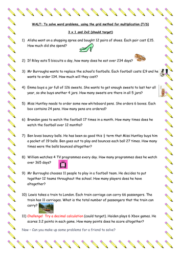 Multiplication word problems - Year 5 by traine3 - Teaching ...