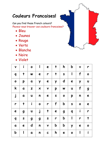 french colours wordsearch by rosiefrancesca teaching resources. Black Bedroom Furniture Sets. Home Design Ideas