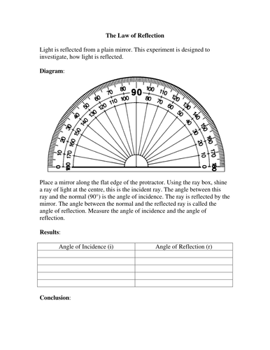 Law of Reflection Experiment Worksheet by missmunchie - Teaching ...