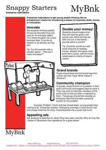 Get your pupils thinking like entrepreneurs!