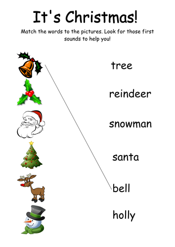 christmas word and picture matching by kmed2020 teaching resources