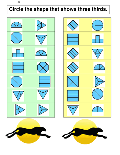 FRACTIONS 9 Identifying shapes cut into thirds
