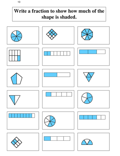 fractions 12 identifying the fraction shaded by coreenburt teaching resources. Black Bedroom Furniture Sets. Home Design Ideas