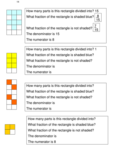 FRACTIONS 13 Answering questions about fractions