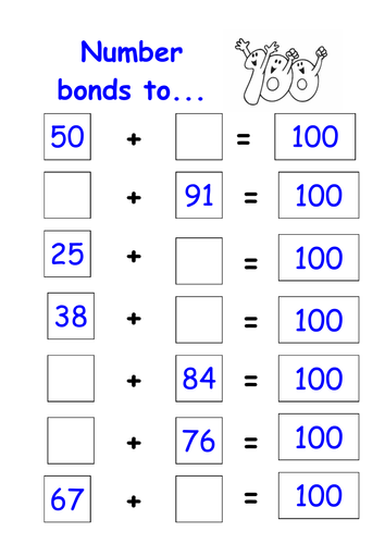 Number bonds to 100 worksheet by kmed2020 - Teaching Resources - Tes