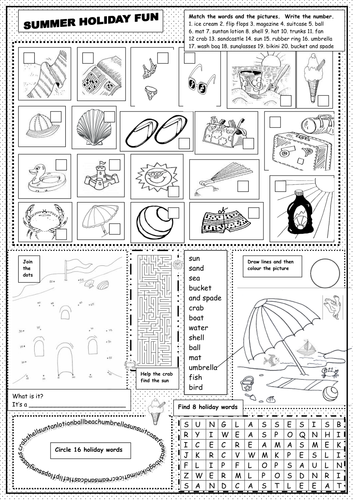eal summer holiday 39 fun 39 worksheet by martuska teaching resources. Black Bedroom Furniture Sets. Home Design Ideas