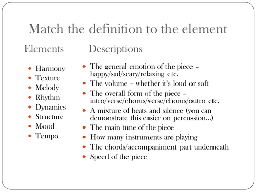 Match key word to the music element