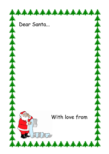 Letter To Santa Writing Frame By Kmed2020 Teaching Resources Tes