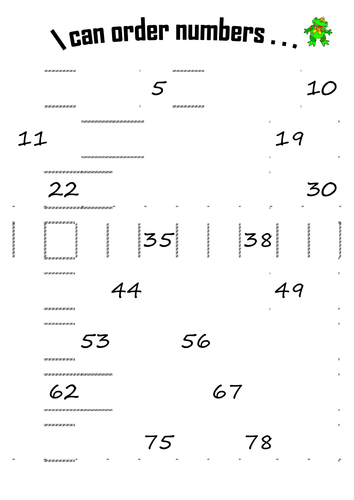 Missing numbers from number square. by beckyelmer1984