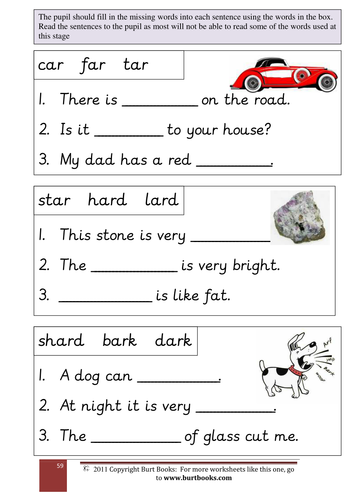 PHONICS Fill in the AR word in the sentences