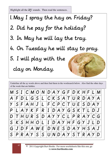 Phonics Find The Ay Words By Coreenburt Teaching Resources
