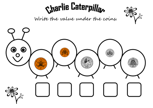 Charlie caterpillar coin recognition by teresa1978 Teaching – Coin Recognition Worksheets