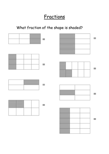 Fraction Of Shape Shaded By Nickybo Teaching Resources