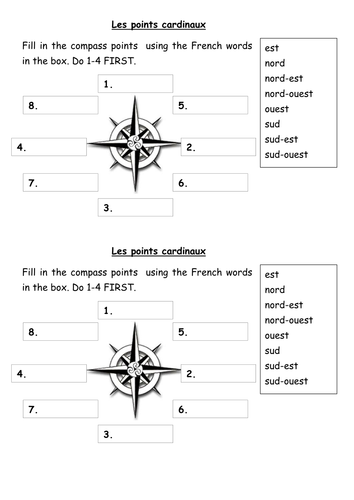 compass points les points cardinaux by lnortcliffe teaching resources tes. Black Bedroom Furniture Sets. Home Design Ideas