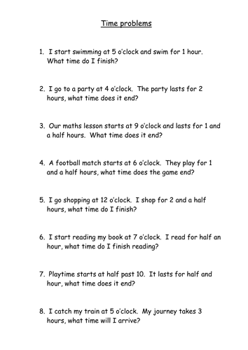 Time word problems by thewolfe | Teaching Resources