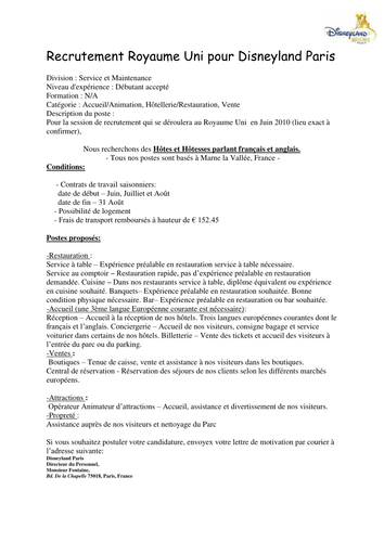 French Application Letter Offre D Emploi