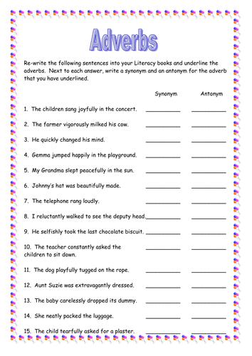 Adverbs worksheet (nice homework) by lathburg - Teaching Resources ...