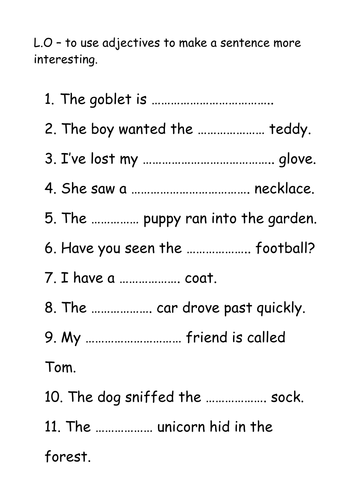Missing adjective sheet