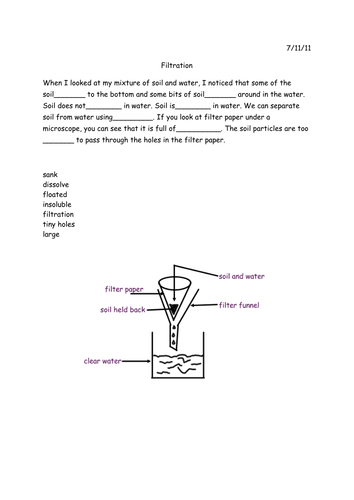 Filtration Iwb Lesson And Worksheet By Fellj Teaching Resources Tes