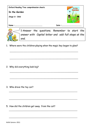Oxford Reading Tree Comprehension Sheets Teaching Resources