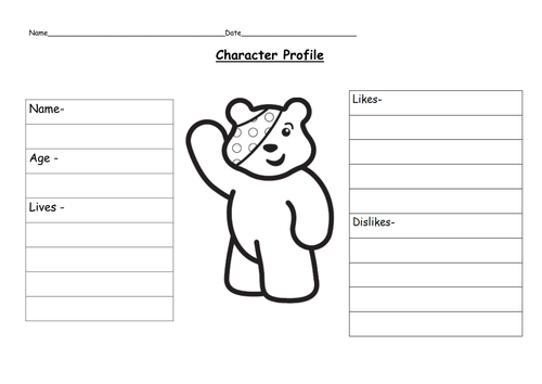 Write a character profile for Pudsey Bear by ruthbentham – Character Profile Worksheet