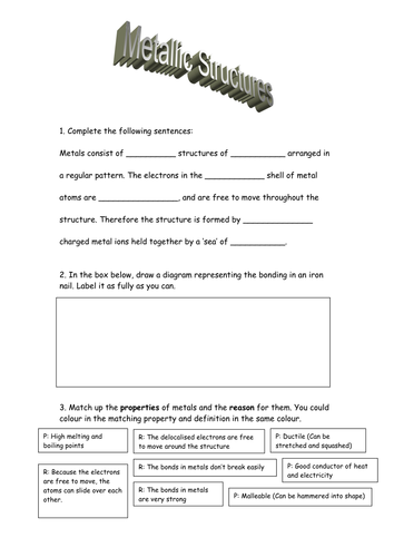 Metallic Bonding Worksheet