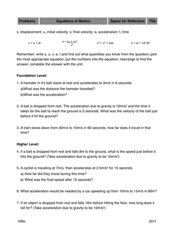 speed velocity and acceleration by jkitchiner teaching resources tes - Speed And Velocity Worksheet