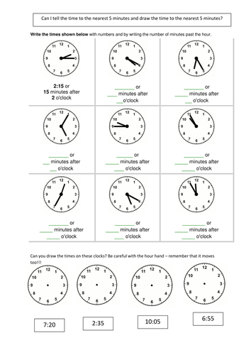 Telling the time 5 mins by smiley_scribe - Teaching Resources - TES