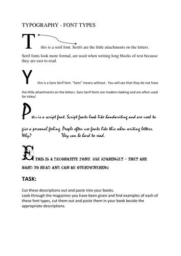 typography worksheet