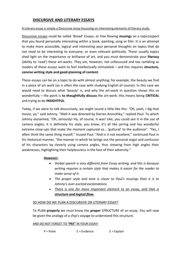 advanced higher french discursive essay Advanced higher french discursive writing attached is a list of discursive essay titles from new advanced higher papers in various languages translated into.