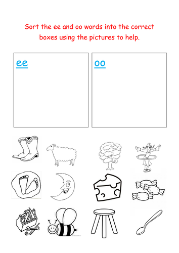 Jolly Phonics Sorting Ee And Oo Words Teaching Resources