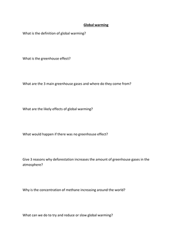 Global warming question sheet