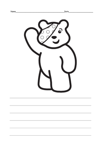 Write about Pudsey Bear by ruthbentham Teaching Resources