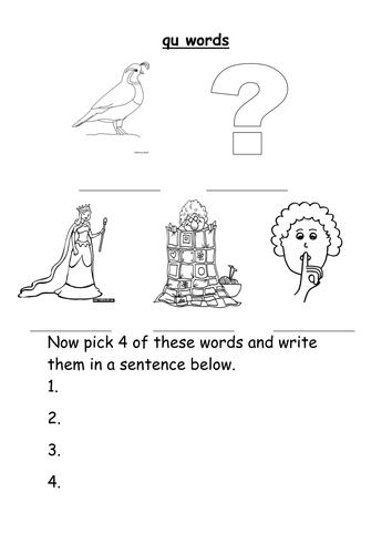 qu words worksheet by groov_e_chik - Teaching Resources - TES