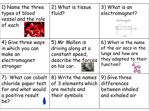 Year 8 Revision Cards Set 2