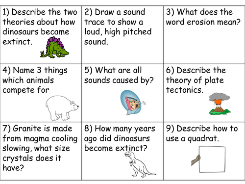 Year 8 Revision Cards Set 3