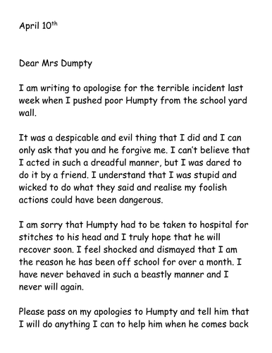 A letter of apology to Humpty by jpspooner | Teaching Resources