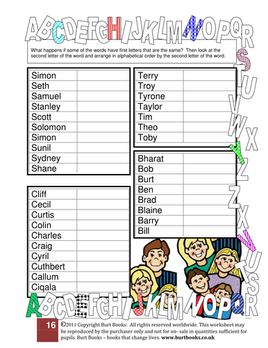 Alphabetical Order worksheet 1